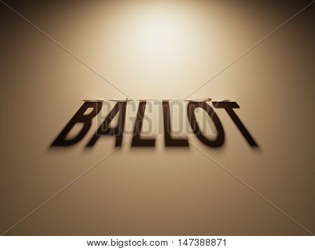 3D Rendering Of A Shadow Text That Reads Ballot