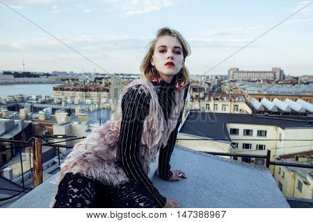 young pretty fashion lady on roof top having fun party time, lifestyle people concept close up
