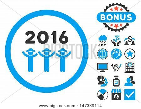 2016 Guys Dance icon with bonus. Glyph illustration style is flat iconic bicolor symbols, blue and gray colors, white background.