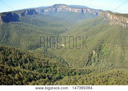 View from the Evans Lookout in the Blue Mountains, Australia.