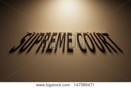 A 3D Rendering of the Shadow of an upside down text that reads Supreme Court.