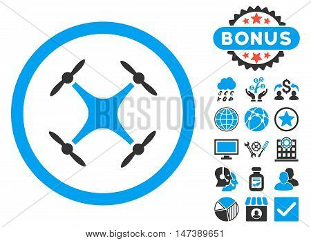 Airdrone icon with bonus. Glyph illustration style is flat iconic bicolor symbols, blue and gray colors, white background.