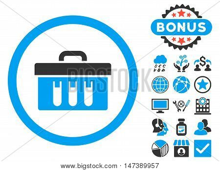 Analysis Box icon with bonus design elements. Glyph illustration style is flat iconic bicolor symbols, blue and gray colors, white background.