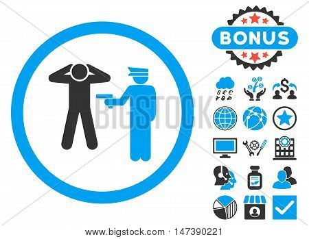 Arrest icon with bonus elements. Glyph illustration style is flat iconic bicolor symbols, blue and gray colors, white background.