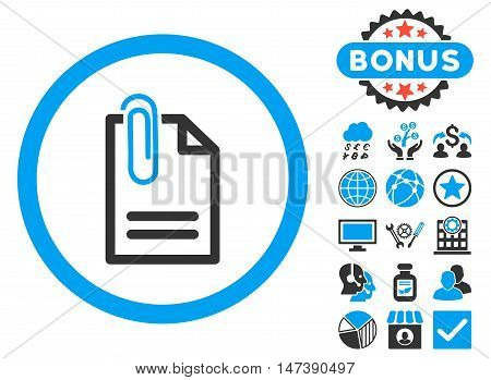 Attach Document icon with bonus symbols. Glyph illustration style is flat iconic bicolor symbols, blue and gray colors, white background.