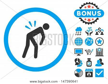Backache icon with bonus pictures. Glyph illustration style is flat iconic bicolor symbols, blue and gray colors, white background.