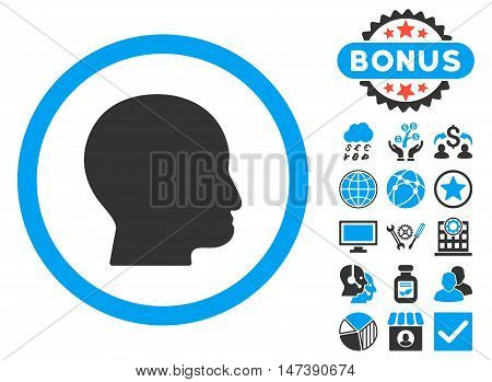 Bald Head icon with bonus images. Glyph illustration style is flat iconic bicolor symbols, blue and gray colors, white background.