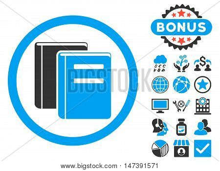 Books icon with bonus design elements. Glyph illustration style is flat iconic bicolor symbols, blue and gray colors, white background.