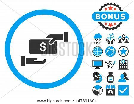 Bribe icon with bonus elements. Glyph illustration style is flat iconic bicolor symbols, blue and gray colors, white background.