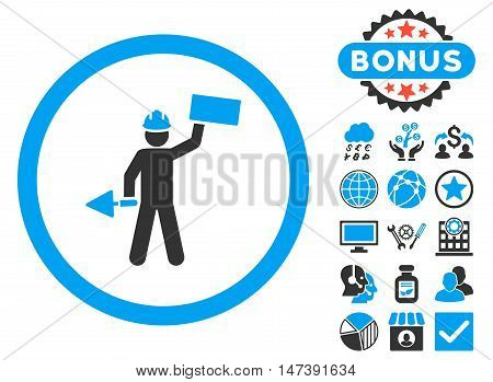 Builder With Shovel icon with bonus pictogram. Glyph illustration style is flat iconic bicolor symbols, blue and gray colors, white background.