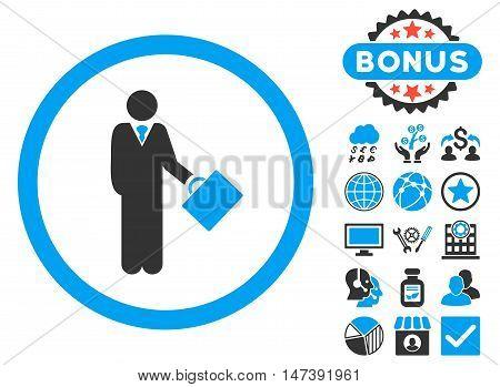 Businessman icon with bonus symbols. Glyph illustration style is flat iconic bicolor symbols, blue and gray colors, white background.