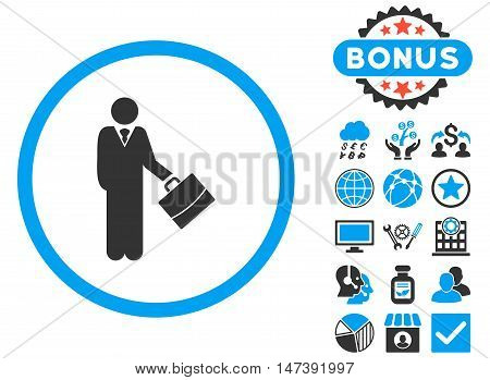 Businessman icon with bonus pictogram. Glyph illustration style is flat iconic bicolor symbols, blue and gray colors, white background.