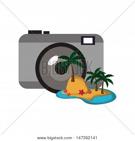 flat design photographic camera and tropical island icon vector illustration
