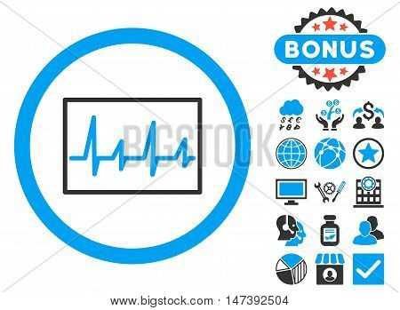 Cardiogram icon with bonus design elements. Glyph illustration style is flat iconic bicolor symbols, blue and gray colors, white background.