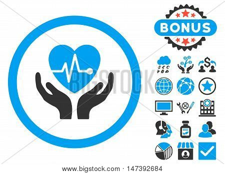 Cardiology icon with bonus design elements. Glyph illustration style is flat iconic bicolor symbols, blue and gray colors, white background.