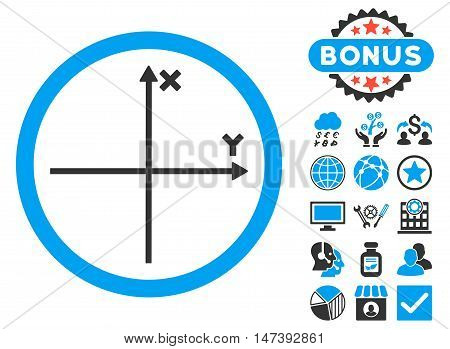 Cartesian Axis icon with bonus pictures. Glyph illustration style is flat iconic bicolor symbols, blue and gray colors, white background.