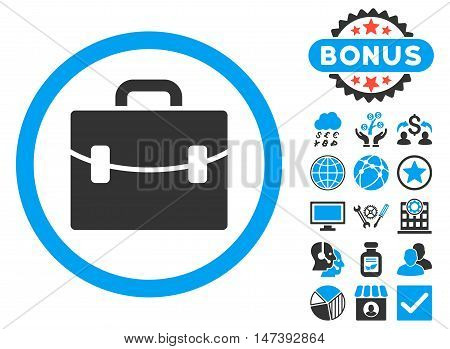 Case icon with bonus pictures. Glyph illustration style is flat iconic bicolor symbols, blue and gray colors, white background.