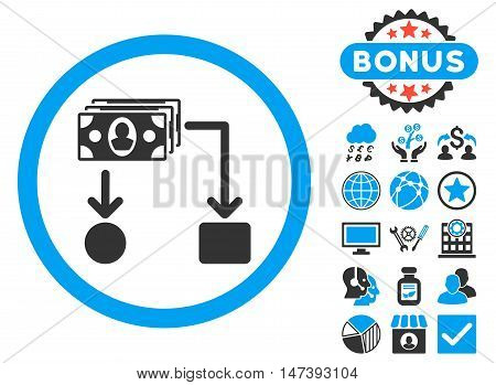 Cashflow icon with bonus images. Glyph illustration style is flat iconic bicolor symbols, blue and gray colors, white background.
