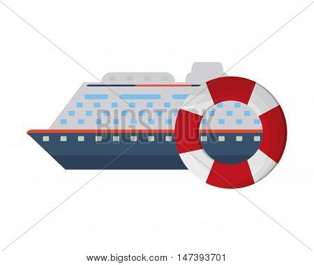 flat design cruise ship and life preserver  icon vector illustration