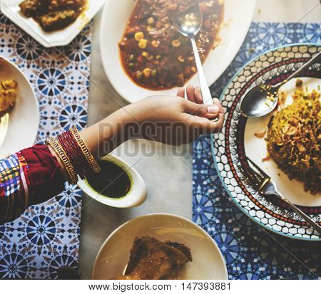 Indian Ethnicity Food Curry Naan Roti Meal Concept