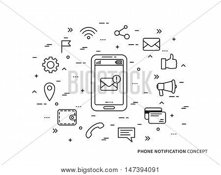 Linear Phone Notification mail call message note vector illustration. Phone Notification mobile technology creative concept. Phone Notification information graphic design.