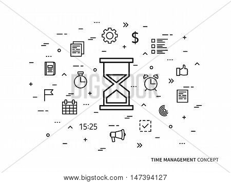 Linear time management clock alarm note vector illustration. Time organization timer watch thumb up planning technology creative concept. Time strategy goal target graphic design.