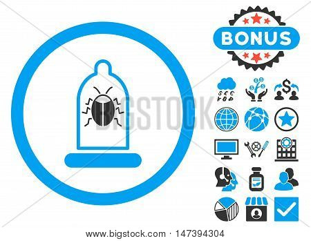 Condom Bug icon with bonus elements. Glyph illustration style is flat iconic bicolor symbols, blue and gray colors, white background.