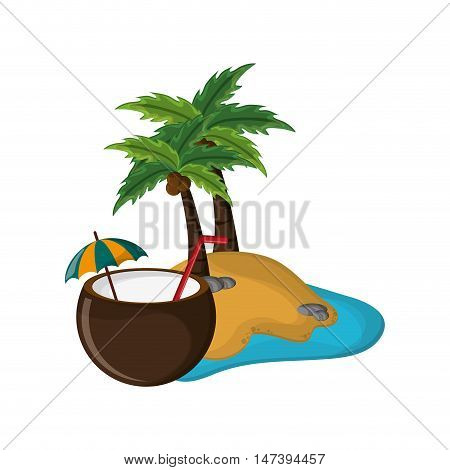 flat design tropical island and coconut cocktail icon vector illustration