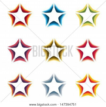 Isolated abstract colorful stars contour logo set on the white background. Rating element logotypes collection. Celebrities symbol. Decorative signs. Vector illustration