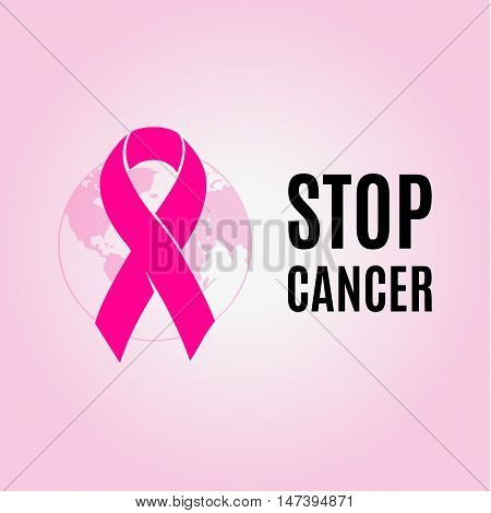 Isolated crimson color ribbon on the pink background logo. Against cancer logotype. Stop disease symbol. International worldwide breast cancer week. Medical sign. Earth image. Vector illustration