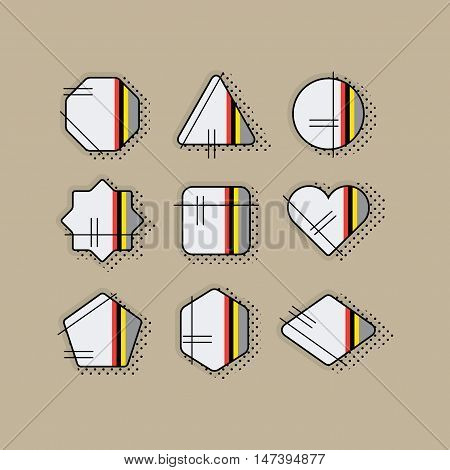 Abstract retro pop art geometrical stripe icons set with dotted shadow and black lines on khaki background