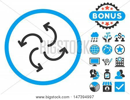 Cyclone Arrows icon with bonus symbols. Glyph illustration style is flat iconic bicolor symbols, blue and gray colors, white background.