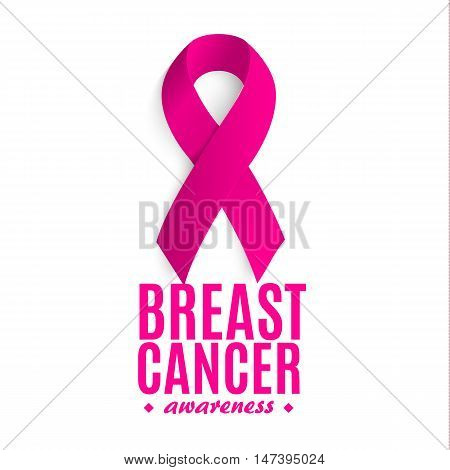 Isolated pink color ribbon on the white background logo. Against cancer logotype. Stop disease symbol. International worldwide breast cancer week. Medical sign. Vector illustration