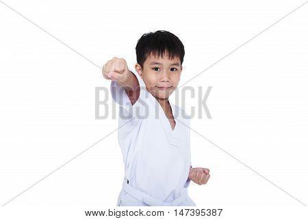 Asian child athletes martial art taekwondo training isolated on white background. Cute boy with white belt in karate position studio shot.