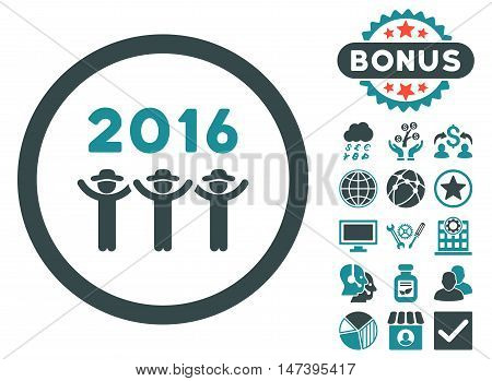 2016 Guys Dance icon with bonus pictogram. Vector illustration style is flat iconic bicolor symbols, soft blue colors, white background.