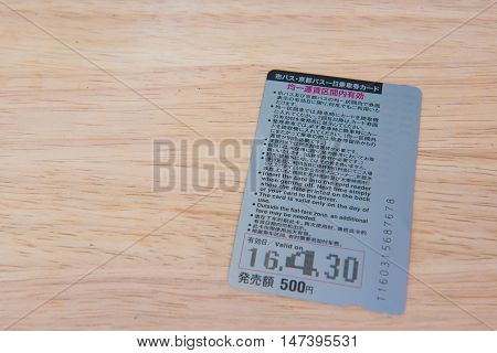 KYOTO, JAPAN - APRIL 30 , 2016 : Ticket Kyoto city bus Kyoto bus one - day pass. Kyoto, Japan. APRIL 30 2016. travel Kyoto by bus.