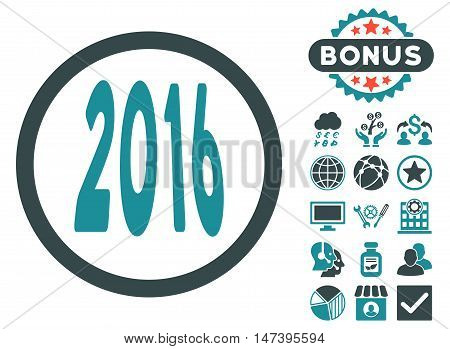 2016 Perspective icon with bonus elements. Vector illustration style is flat iconic bicolor symbols, soft blue colors, white background.
