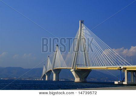 suspension bridge crossing Corinth Gulf strait, Greece. Is the world's second longest cable-stayed bridge