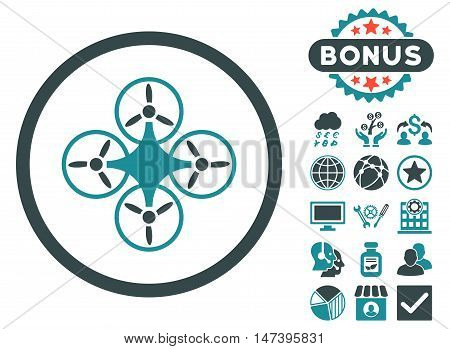 Air Drone icon with bonus pictures. Vector illustration style is flat iconic bicolor symbols, soft blue colors, white background.