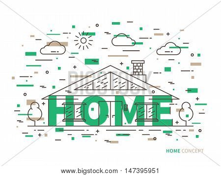 Linear house cottage mansion flat illustration in modern minimal outline style. Graphic design residential house with word House. Real estate house for rent property contour creative concept.