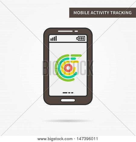 Linear mobile health fitness tracking service. Flat phone online activity tracker app. Creative mobile sport tracker graphic design banner. Vector control software sign illustration.
