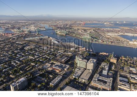Los Angeles, California, USA - August 16, 2016:  Aerial view of San Pedro and the Los Angeles Harbor main channel.