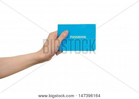 human hand holding blue passbook on isolated white background Concept of Financial Transactions.