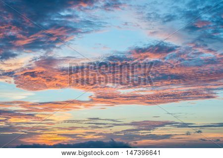 The twilight colorful sky when the sunrise.