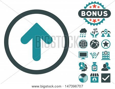 Arrow Up icon with bonus pictures. Vector illustration style is flat iconic bicolor symbols, soft blue colors, white background.