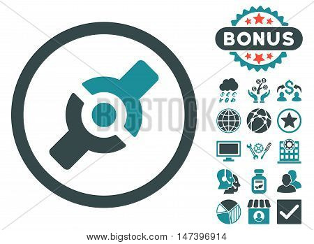 Artificial Joint icon with bonus pictures. Vector illustration style is flat iconic bicolor symbols, soft blue colors, white background.