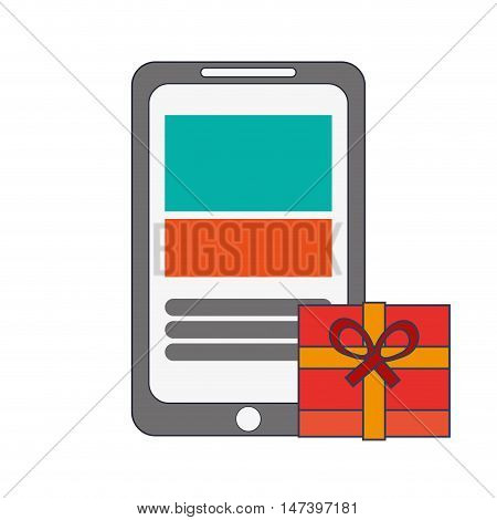 flat design modern cellphone and giftbox icon vector illustration