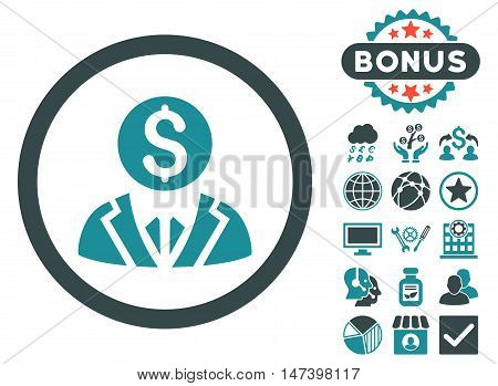Banker icon with bonus elements. Vector illustration style is flat iconic bicolor symbols, soft blue colors, white background.