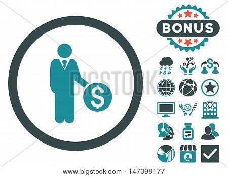 Banker icon with bonus symbols. Vector illustration style is flat iconic bicolor symbols, soft blue colors, white background.