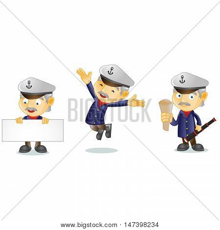 Captain with board mascot vector art illustration